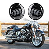 Xprite Black 4.5'' Inch 60W Cree Led Spot Lights 6000k White Passing Projector Fog Lamp for Harley Davidson Daymaker Motorcycles