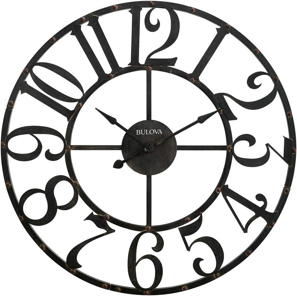 Amazon Com Bulova C4821 Oversize Gabriel Wall Clock Rustic Brown Home Kitchen