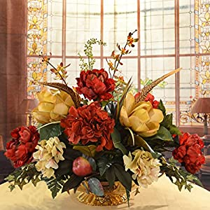Floral Home Decor Burgundy and Gold Silk Magnolia Centerpiece
