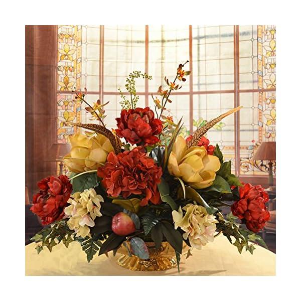 Floral Home Decor Burgundy and Gold Silk Magnolia Centerpiece