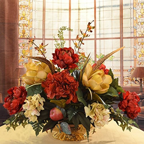 Burgundy and Gold Silk Magnolia Centerpiece (Dining Room Arrangements Floral)