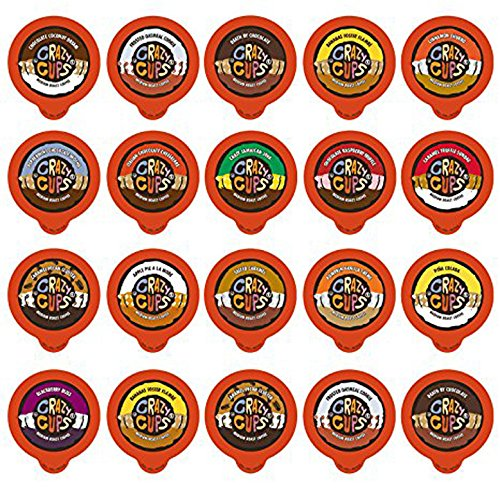 Crazy Cups Flavored Coffee Single Serve Cups for Keurig Brewer Variety Pack Sampler, 20 (Assorted Cup)