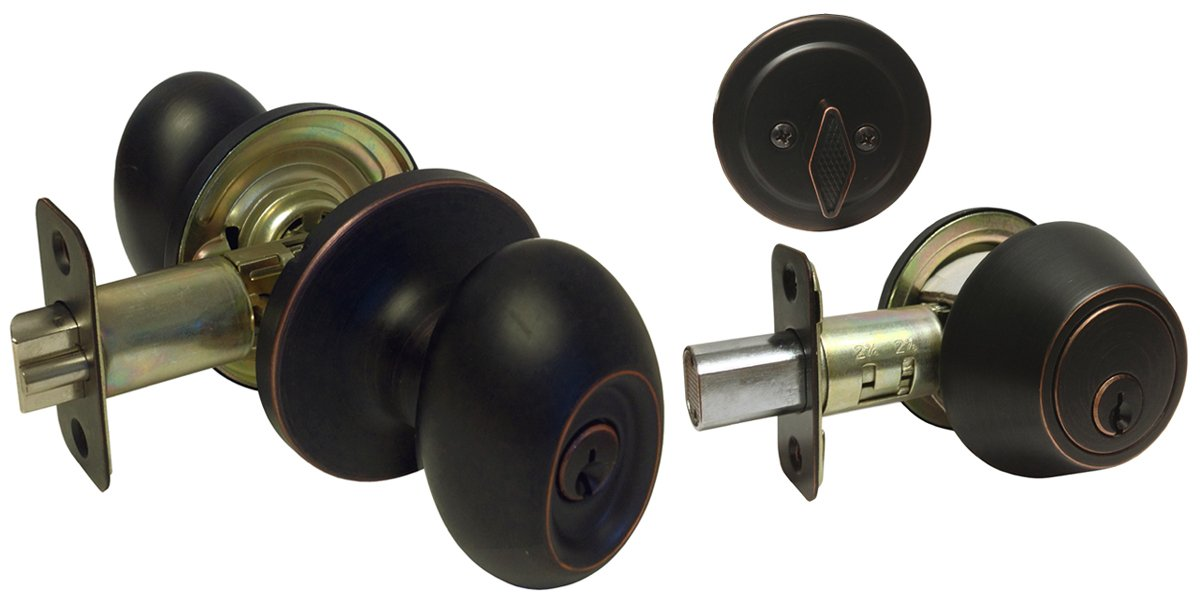 1 Sets Dark Oil Rubbed Bronze Entry Entrance Oval Egg Style Knob with Matching Single Cylinder Deadbolt Combo Pack Kwikset Keyway Keyed Alike