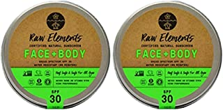 product image for Raw Elements Face and Body Certified Natural Sunscreen | Non-Nano Zinc Oxide, 95% Organic, Water Resistant, Reef Safe, Cruelty Free, SPF 30+, All Ages Safe, Moisturizing, Reusable Tin, 3oz (2-Pack)