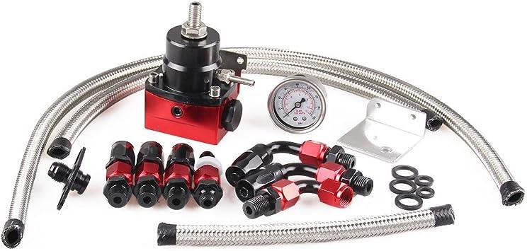 Adjustable Fuel Pressure Regulator 160psi NPT Gauge AN 6 Fitting End Universal