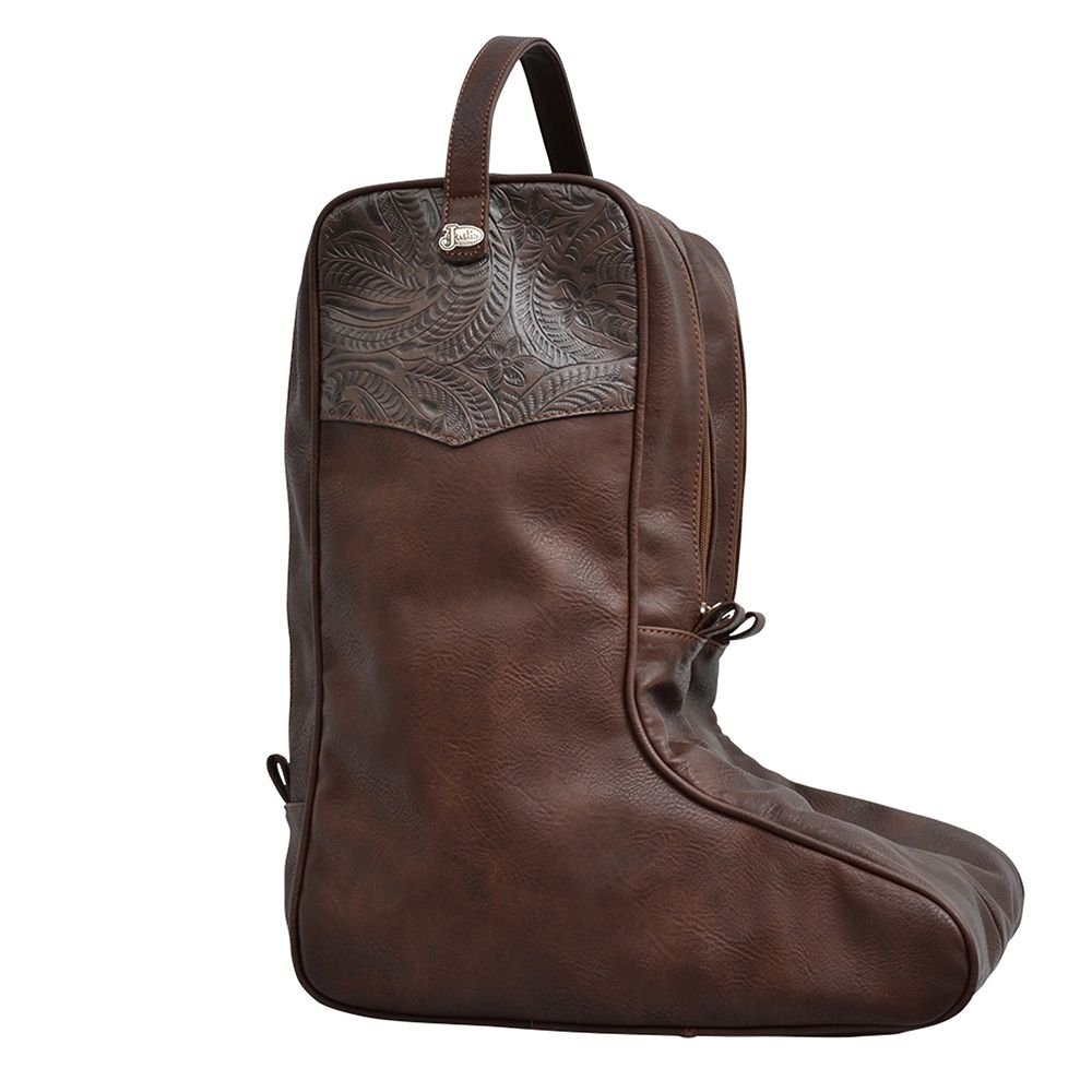 Justin Unisex Tooled Boot Bag Brown One Size