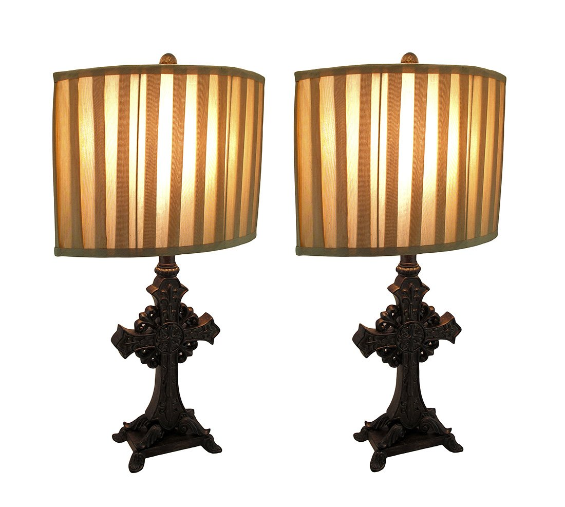 Resin Table Lamps Set Of 2 Bronze Finish Ornate Cross Table Lamps W/ Fabric Shades 25 In. 14 X 25 X 14 Inches Bronze Model # TVPP935SET