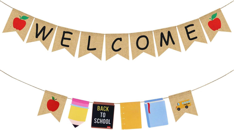 Welcome Burlap Banner & Back to School Garland - Back to School Decorations - Back to School Banner - First Day of School Banner- Back to School Decor for Classroom - Teacher Office Hanging Decor