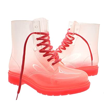 Women Lace-up Clear Rubber Candy Color Flat Ankle Rain Booties Soft Jelly Shoes Size:6(US size) Pink