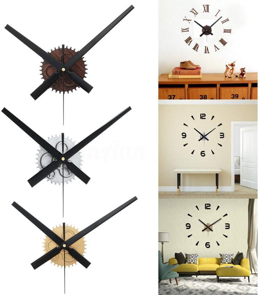 Noir Dyna-Living Horloge Murale Geante Retro Orloge Murale 3D DIY D/écoration dInt/érieur M/écanisme Horloge Murale Grandes Aiguilles
