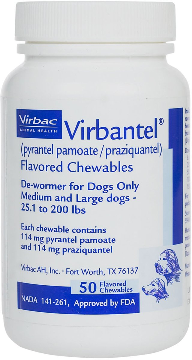 Virbantel Flavored Chewable Tablets - Dewormer for Dogs - Pyrantel Pamoate / Praziquantel - Effective Against Roundworms, Hookworms, and Tapeworms (25-200lbs - 114mg)