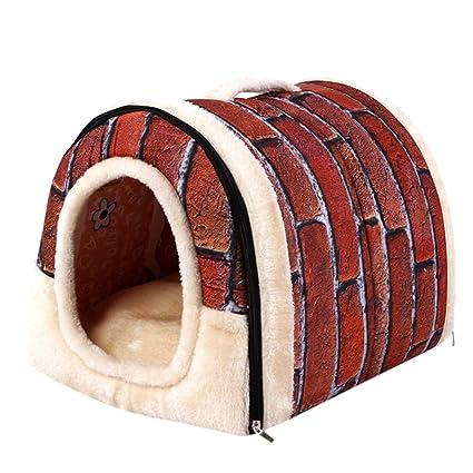 Fossrn Mascota Perro Gato Cama Casa Cálido Estera Suave Ropa de Cama Cesta de Canasta Igloo