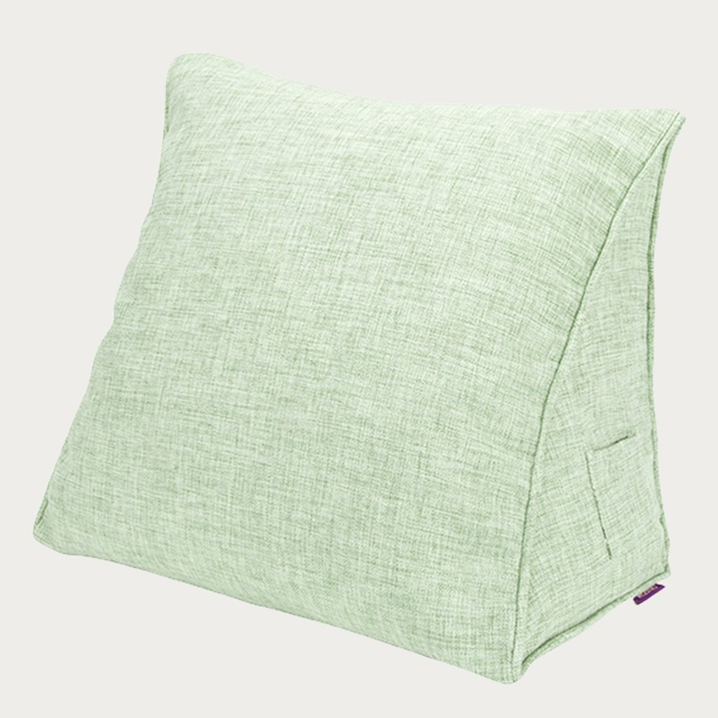 Chi Cheng Fang Electronic business Lumbar Pillows Solid color cotton triangular bay window headrest pillow office pillow lumbar pillow car large pillow cushion (Color : Green, Size : 605025cm)