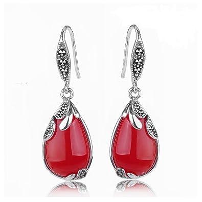 Jade Angel 925 Silver Agate Drop Dangle Hoop Earrings Thailand Vintage Marcasite Jewellery y6BPl4LUu