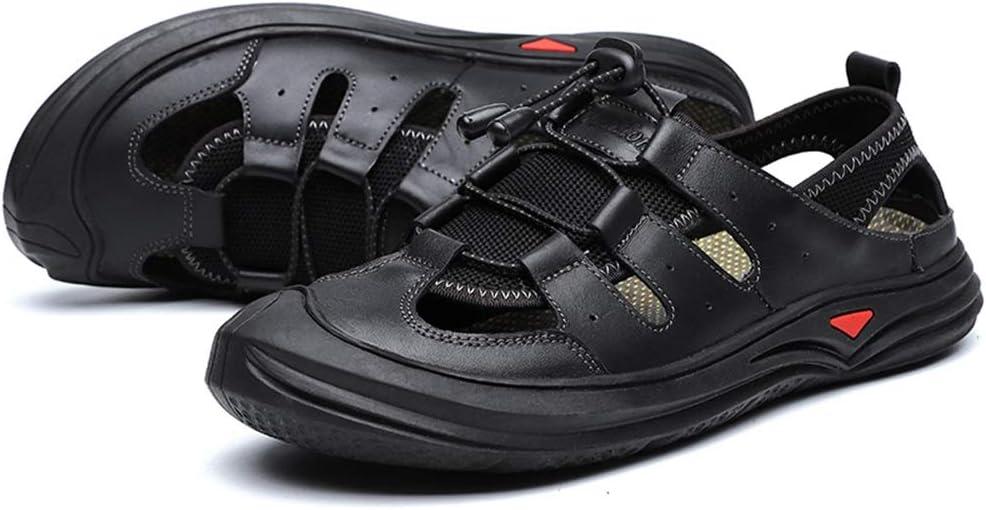 Antislip, outdoor-sport, wandelen, comfortabele sandalen voor mannen, echt leer, ademend, geperforeerde strandschoenen, antislip, vlakke botsingvermijding, ronde close-toe, elastisch koord, vrije tijd zwart