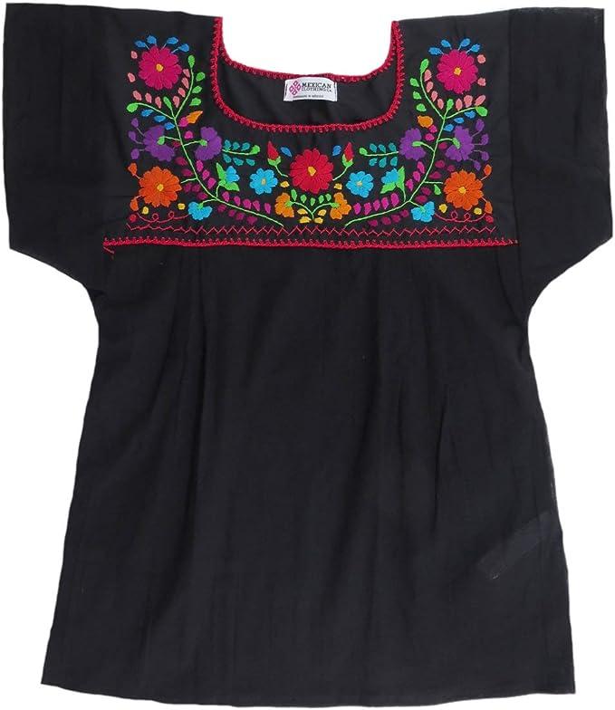 Amazon.com: Mexicana Ropa Co Mujer Blusa Mexicana Tehuacan ...