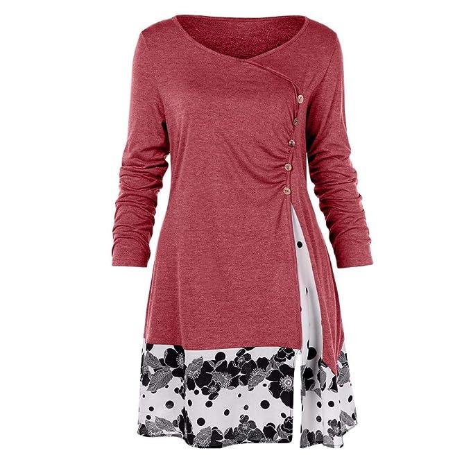 f7752e63a40 Yanvan Women Tunic Blouse Fashion Plus Size Button Draped Floral Splicing  Long Tops at Amazon Women's Clothing store: