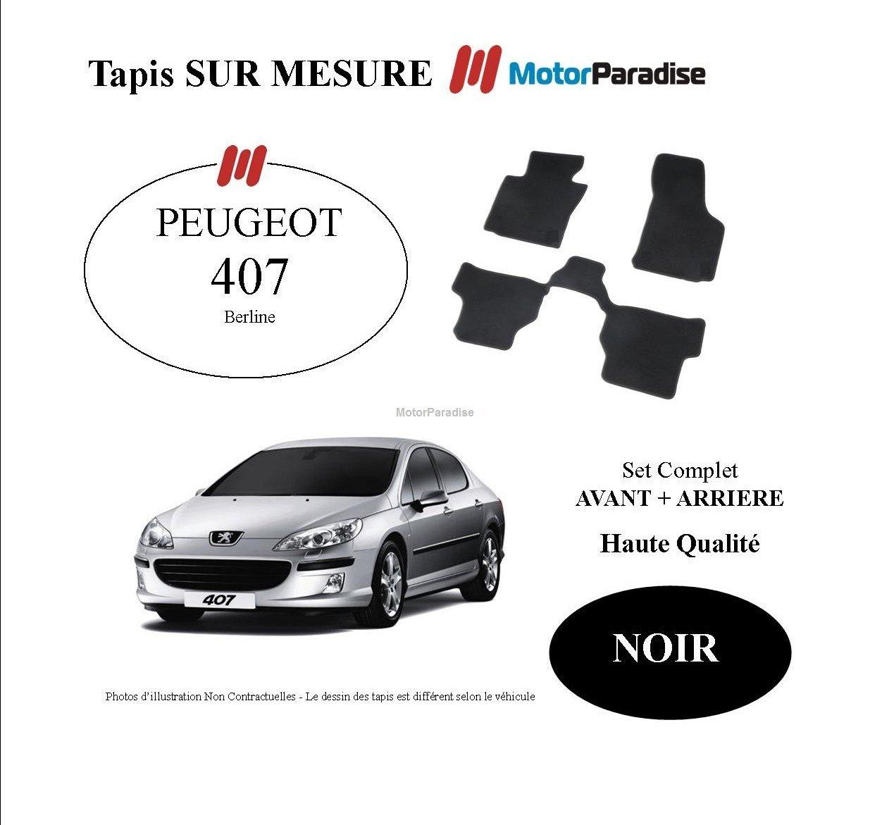 Amazon.es: Alfombras a medida para Peugeot 407 berlina-(04/2004=>) 2011, color negro-Juego completo antes trasera