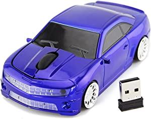 Ai5G for Chevrolet Camaro Bumblebee Car Mouse Wireless Sport Car Shape Mouse Laptop Desktop Computer Mouse Optical Mice with 2.4GHz Nano USB LED Headlight (Blue)