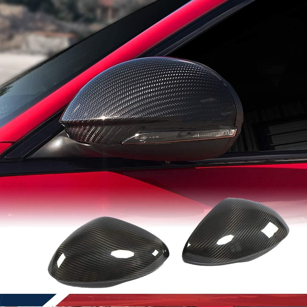 JC SPORTLINE Carbon Fiber Mirror Covers fits for Alfa Romeo Giulia Sedan 2015-2018 Add On Side Mirror Cover Caps Factory Outlet