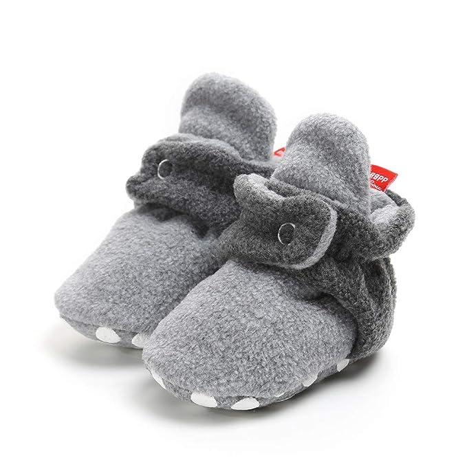 LILICAT® Zapatos de Felpa para bebés y niños cálidos Zapatillas de algodón recién Nacidos Botines de Felpa acogedores Antideslizantes (Gris, Naranja, Beige, ...