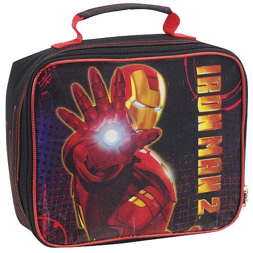 The Avengers Iron Man 2 Insulated Lunchbox Lunch Kit Black and (Ironman Lunch Box)