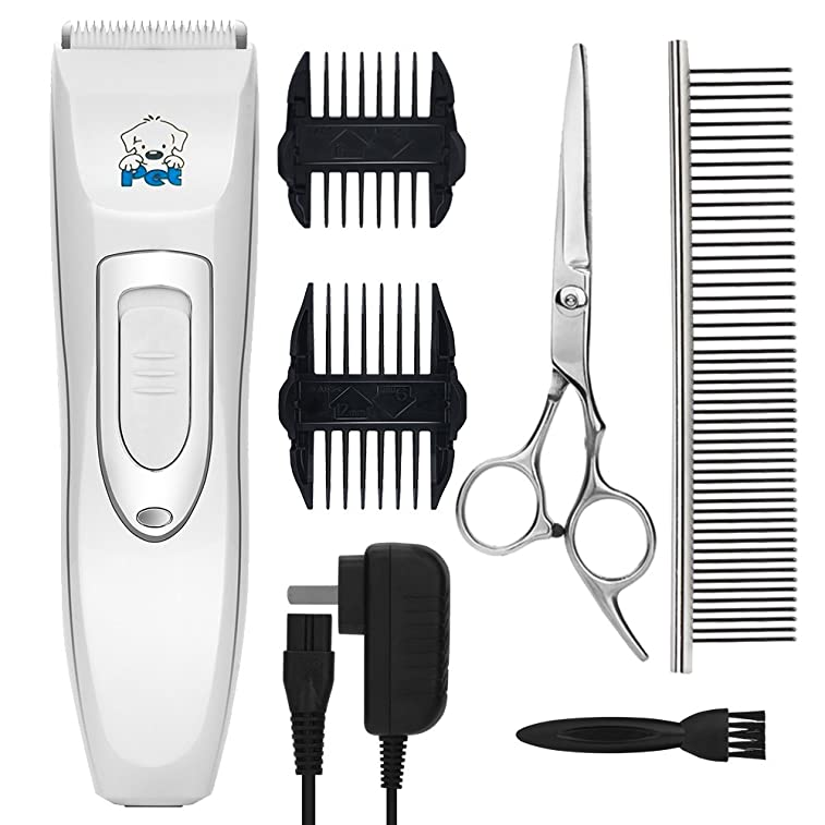 Pet Clippers YIHONG Professional Cordless Electric Dog Clippers Rechargeable Dog Hair Clippers Low Noise Pet Trimmers Grooming Trimming Kit Tool Set White