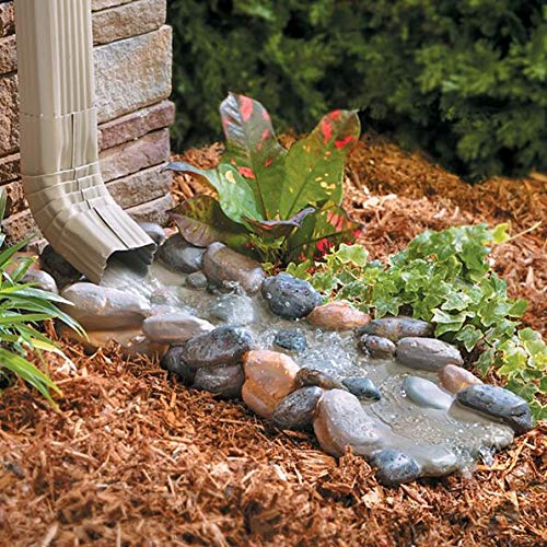 Palos Designs Decorative Downspout Splash Block, Rocky Stream Design, Polyresin, 24 Inches Length, Gutters And Downspout Extension