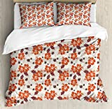 Vintage Hawaii Queen Size Duvet Cover Set by Lunarable, Hibiscus Flowers Silhouettes with Soft Colored Abstract Tropic, Decorative 3 Piece Bedding Set with 2 Pillow Shams, Vermilion Maroon Brown