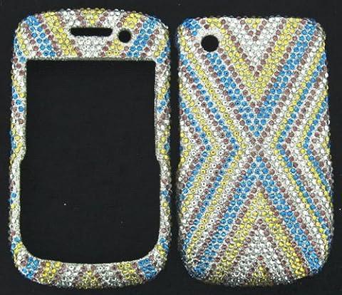 FULL DIAMOND CRYSTAL STONES COVER CASE FOR BLACKBERRY CURVE 8520 8530 9300 BLUE GOLD BURST (Blackberry 8520 Curve Cover)