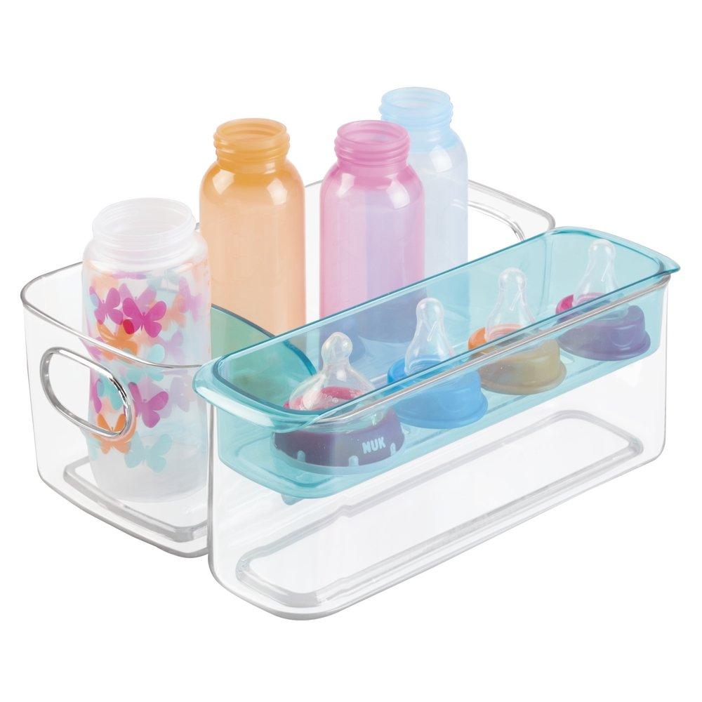 Caja organizadora para artículos bebé de mDesign - Organizador plástico color transparente con compartimentos y bandeja extraíble. MetroDecor 1988MDB
