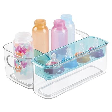 Caja organizadora para artículos bebé de mDesign - Organizador plástico color transparente con compartimentos y bandeja
