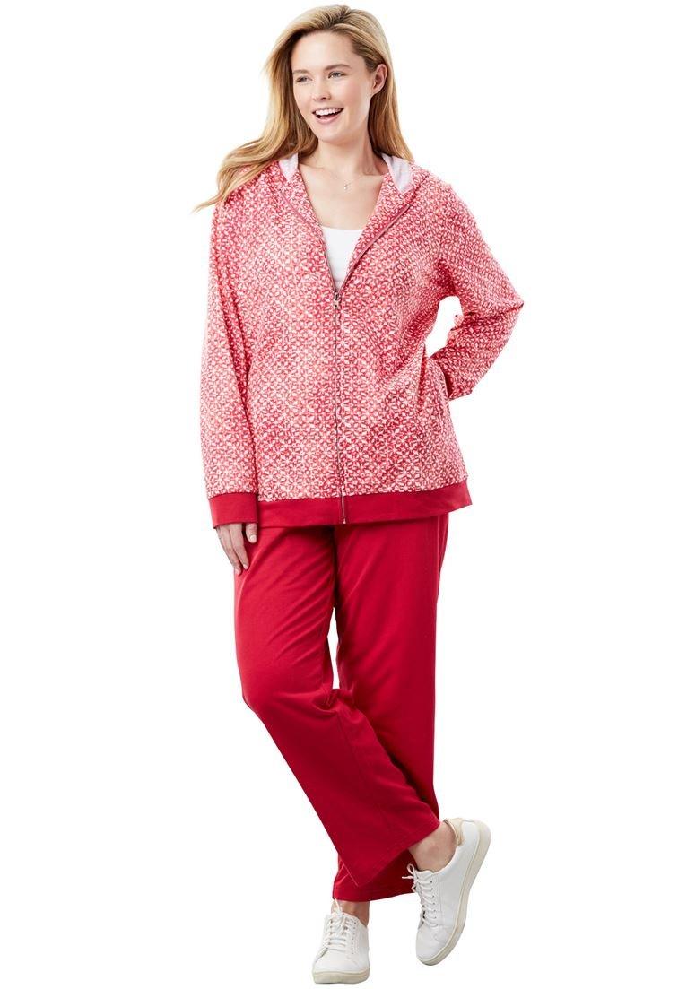 Women's Plus Size Tie Dye Knit Jacket and Pants Set.