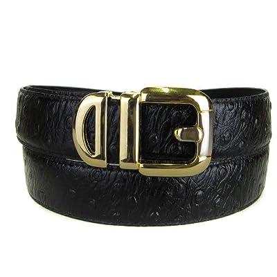 Black Bonded Ostrich Skin High Quality Fashion Dress Belt