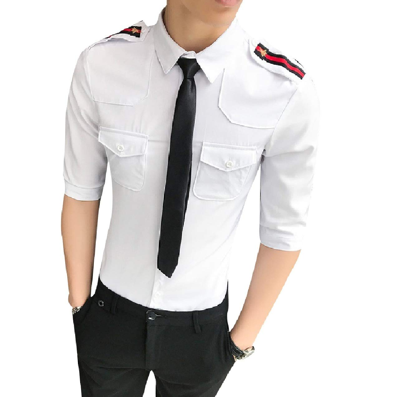 Zimaes-Men Front Slim Casual Uniforms Shoulder Board Woven Shirt