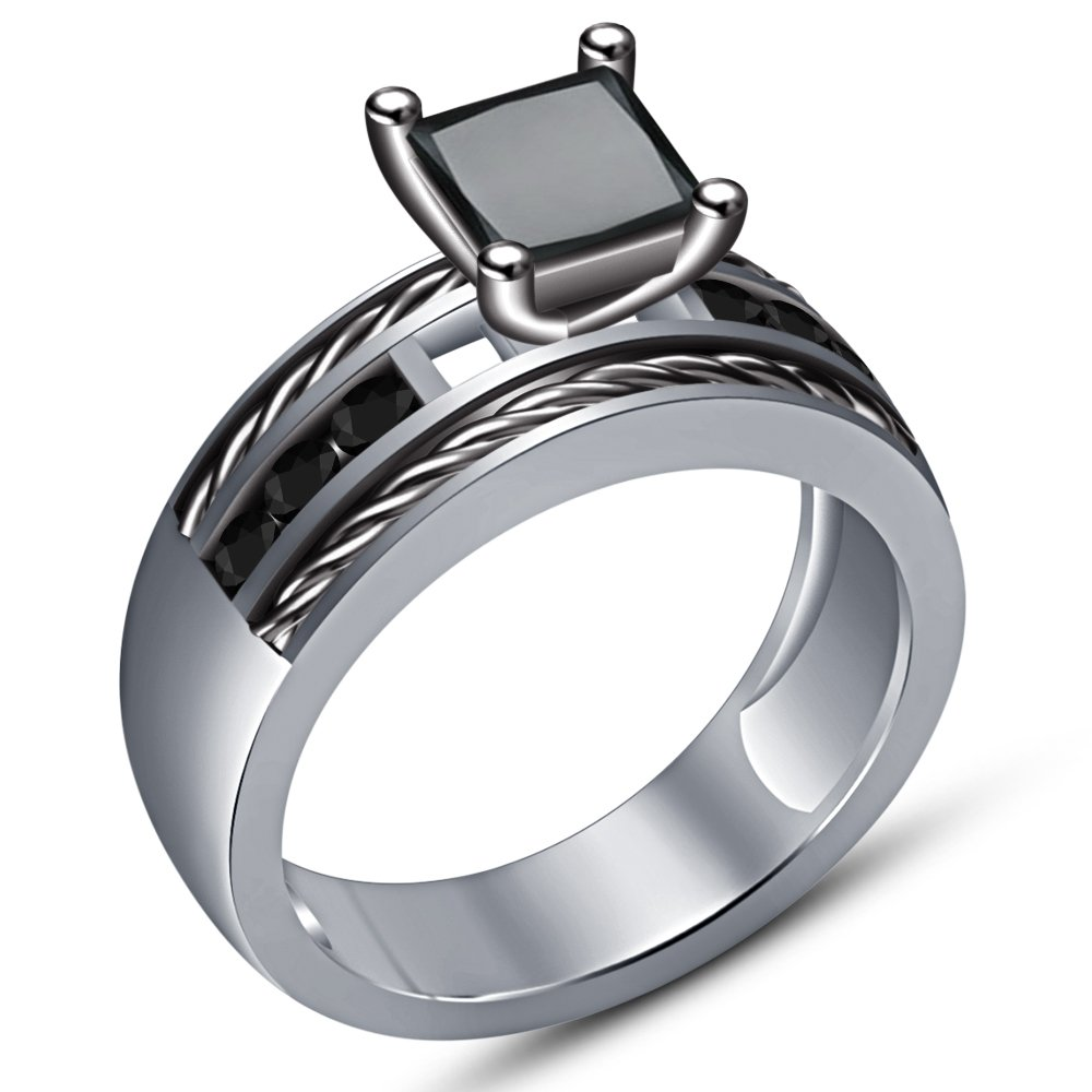TVS-JEWELS Princess /& Round Cut Black Cubic Zirconia 925 Silver Platinum Plated Solitaire W//Accents Ring