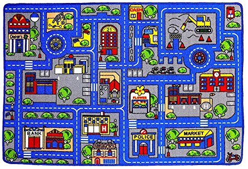 Kids Rug Town Map 8' X 11' Childrens Area - Street Map Non Skid Backing ( 7'10'' X 11'3'') by Mybecca