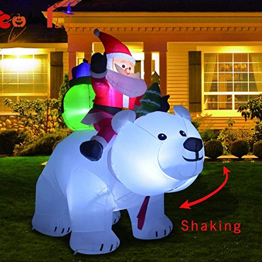 2M Riding Polar Bear Santa Claus, Inflable De Pie Santa Doll ...