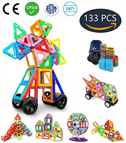 Jasonwell 133 Pieces Creative Magnetic Building Blocks for Boys Girls Magnetic Tiles Building Set Preschool Educational Construction Kit Magnet Stacking Toys Christmas Gift for Kids Toddlers Children (Toy Animal Shape Model)