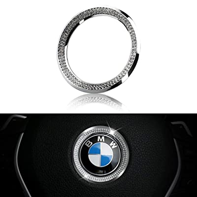 LECART Crystal Bling Steering Wheel Emblem Badge Logo Cover Trim Circle Ring Center Decor Logo Decoration Interior Accessory for BMW 1 2 3 5 7 Series X1 X 3 X 5 X6 Z3 Z4 i3 i8 E30 E34 E36 E39 Silver: Automotive