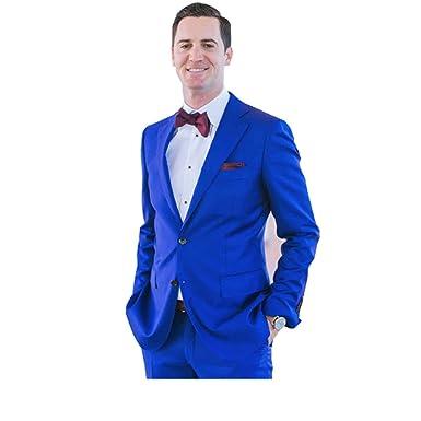 Amazon.com: kelaixiang traje azul real novio para hombres 2 ...