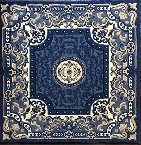 Square Area Rug Blue Design 101(5 Feet 3 Inch X5 Feet 3 Inch Square) (Aubusson 8' Round Area Rug)