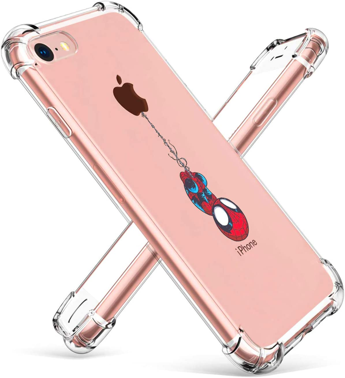 """Logee TPU Spider Funny Cute Cartoon Clear Case for iPhone 6 Plus/6S Plus 5.5"""",Fun Kawaii Animal Soft Protective Cover,Ultra-Thin Shockproof Creative Character Cases for Kids Teens Girls Boys (6Plus)"""