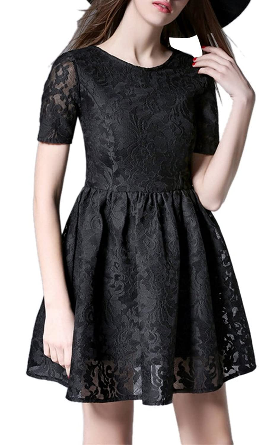 Allbebe Women's Floral Lace Cap Bodice Pleated Skater Bridesmaid Dress