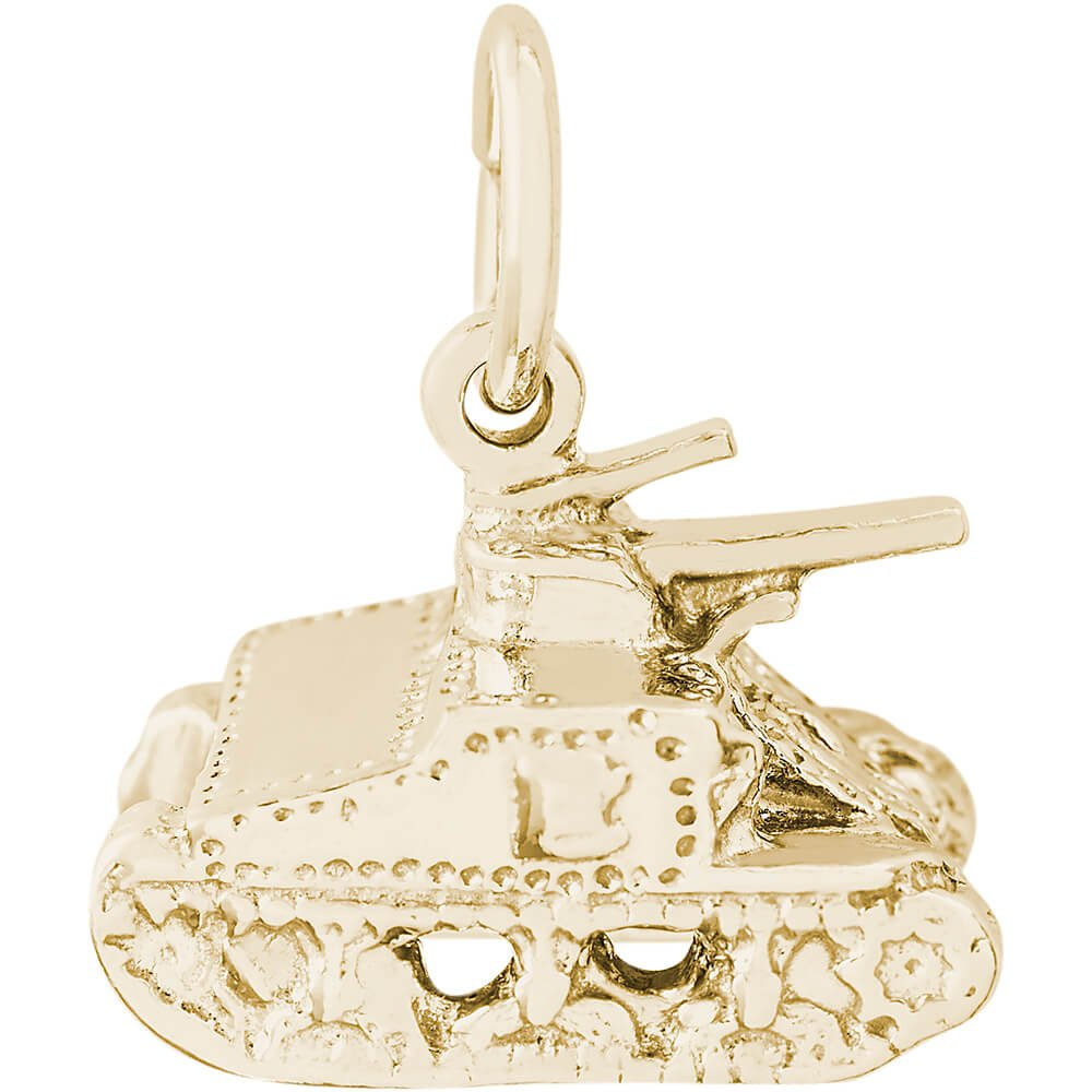 Box or Curb Chain Necklace Rembrandt Charms Two-Tone Sterling Silver Tank Charm on a Sterling Silver 16 18 or 20 inch Rope