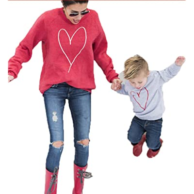 USGreatgorgeous Heart Shape Print Family Matching Shirts Hoodies Outfits Clothes Parent Child Long Sleeve Sweatshirt Pullover