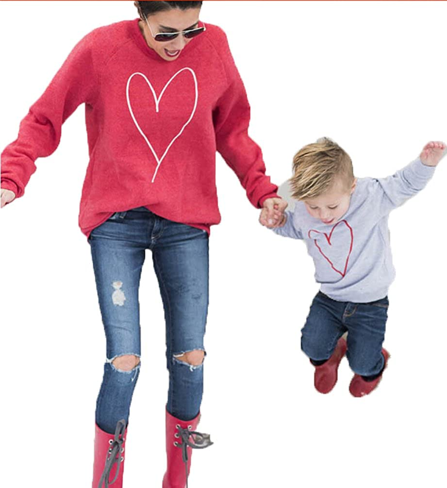 USGreatgorgeous Heart Shape Family Matching Shirts Hoodies Outfits Parent Child Long Sleeve Sweatshirt Pullover