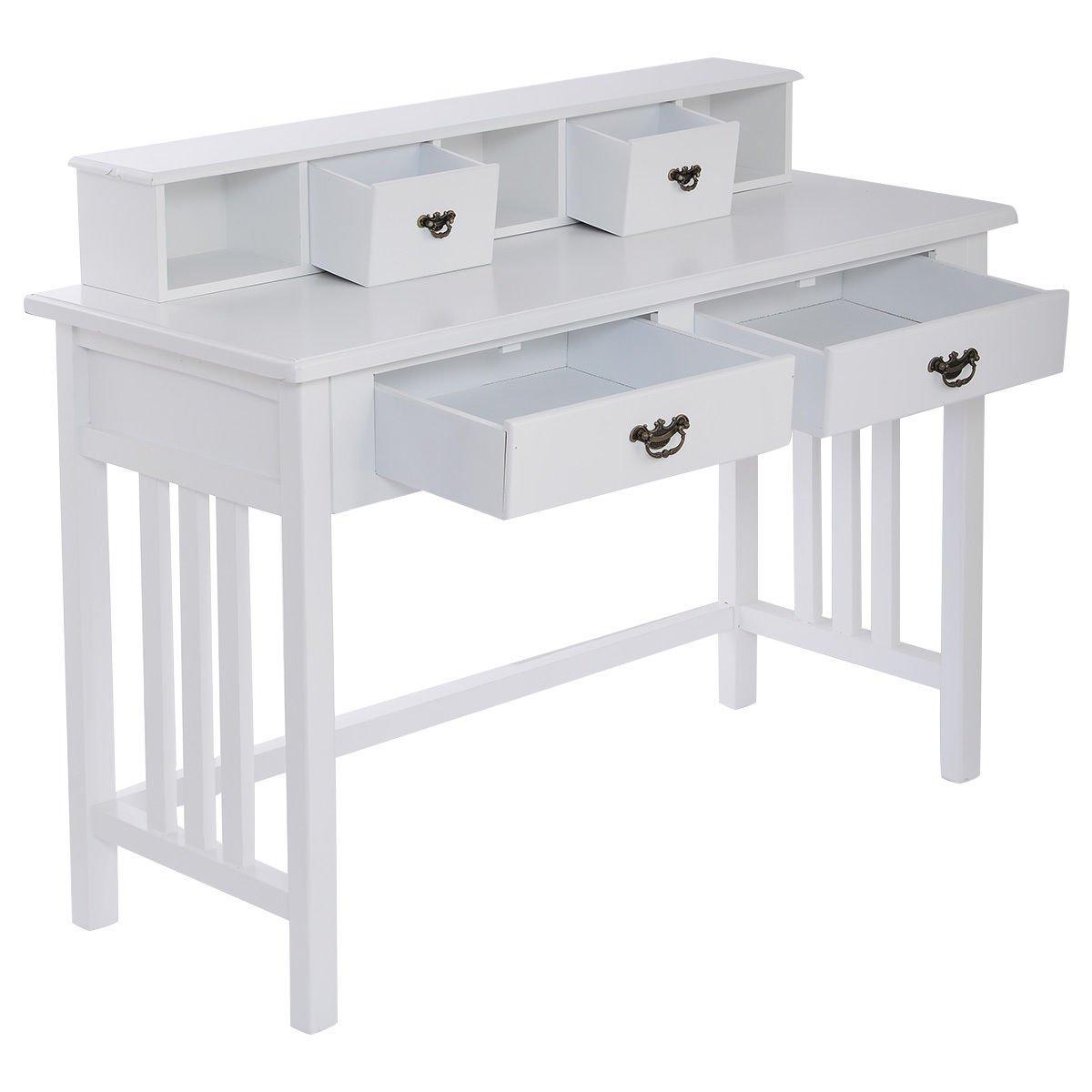 Amazon.com: Giantex Writing Desk Mission White Home Office Computer ...