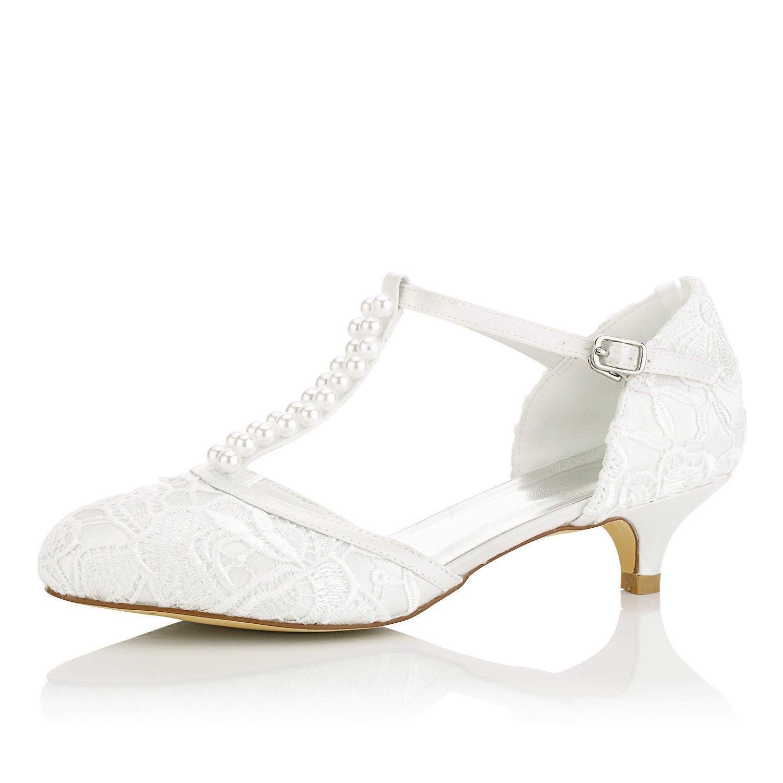 JIAJIA 01129 Women's Bridal Shoes Closed Toe T-Strap Low Heel Lace Satin Pumps Imitation Wedding Shoes Color Ivory,Size 7.5 B(M) US/38 EU