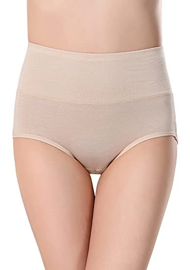 89bc086dbe4 EachEver Women Soft Bamboo Fiber High Waist Menstrual Period Leakproof  Physiological Panties Underwear Apricot L